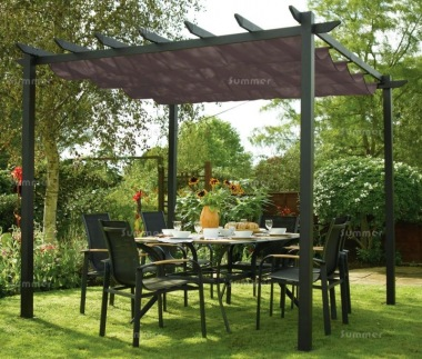 Metal Gazebo 442   Pergola, Aluminium, Retractable Awning