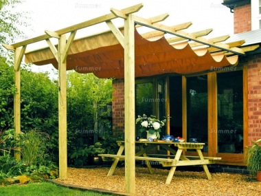 Delightful Wooden Gazebo 451   Lean To Pergola, Retractable Awning